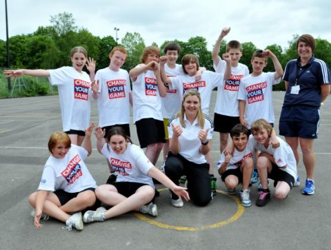 Serita Shone, centre, with the students, and PE teacher and schools sports co-ordinator, in blue, Lisa Suffling