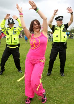 Police officers get into the fun day groove