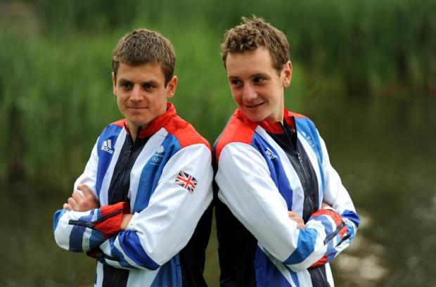 Jonny and Alistair Brownlee at the kitting-out day at Loughborough