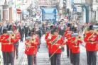 The Band of the Royal corps of Signals marching to the Great Hall.