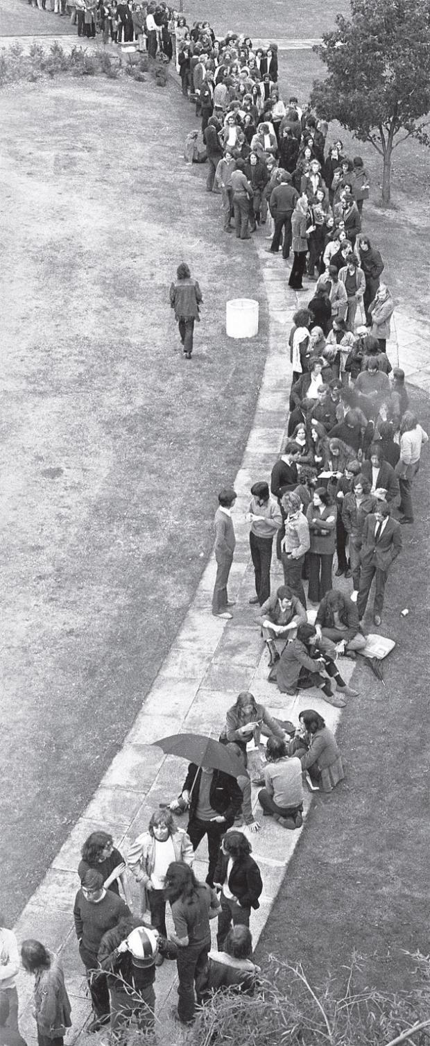 The queue to see The Who in Southampton in 1971