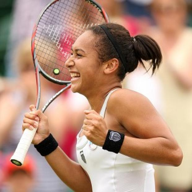 Heather Watson (pictured) powered past America's Jamie Hampton 6-1 6-4