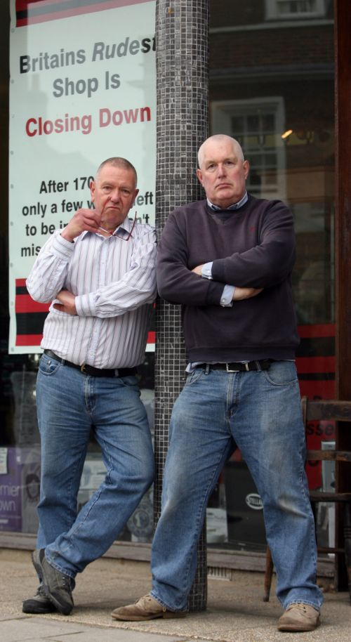Terry Palfrey and Geoff Kemp outside their shop.