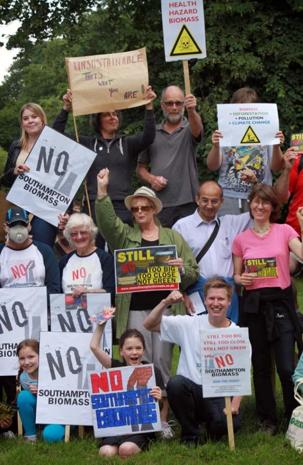 Residents protest against the biomass plant last night.