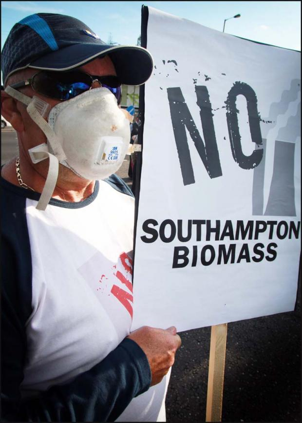 A biomass protester in Southampton