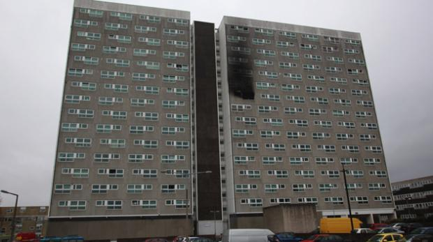 Shirley Towers, where firefighters James Shears and Alan Bannon died.