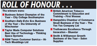 Daily Echo: South Coast Business Awards 2012 roll of honour