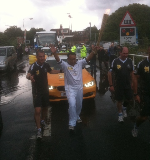 Olympic torch bearer in Lymington