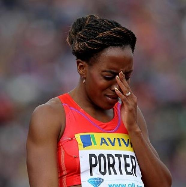 Daily Echo: Tiffany Porter looked in pain as she finished last in the 100m hurdles semi-final