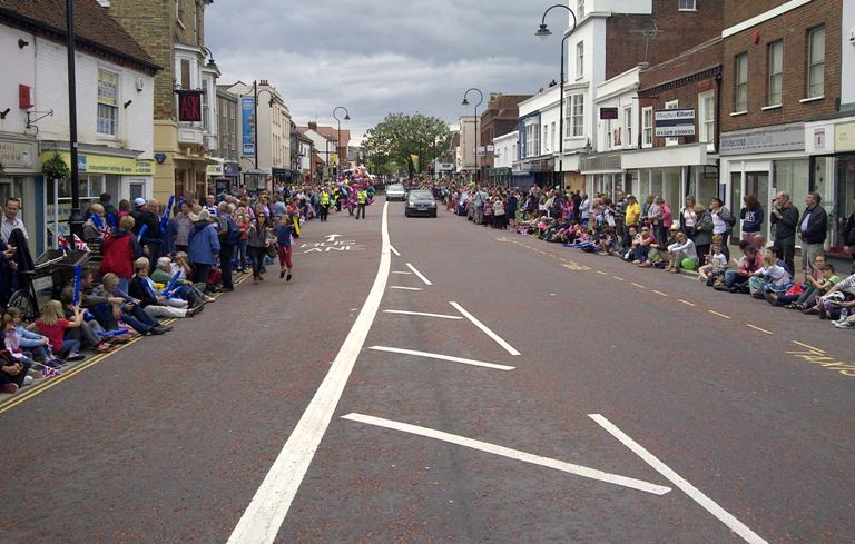 Crowds gather in West Street, Fareham