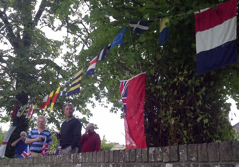 Flags reading Happy Olympiad in Fareham