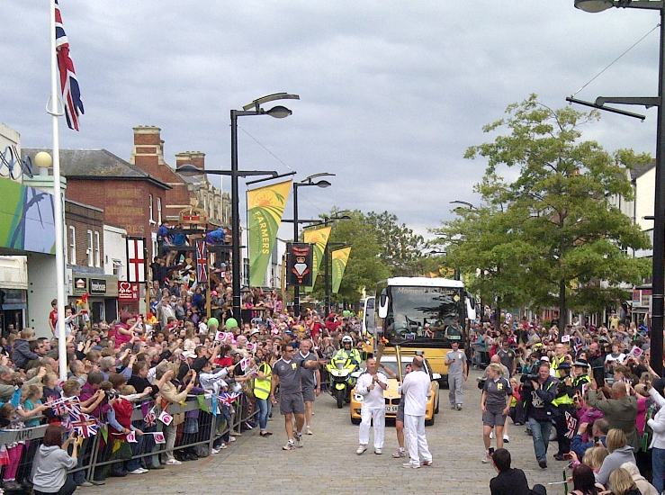 The torch relay through Fareham