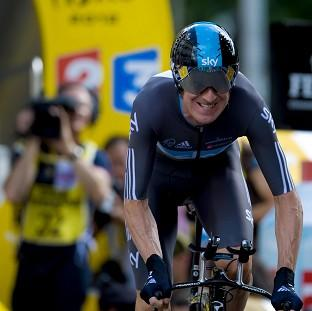 Bradley Wiggins, pictured, reeled in Vincenzo Nibali to retain the yellow jersey