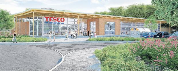 An artist's impression of the proposed Tesco store at Romsey
