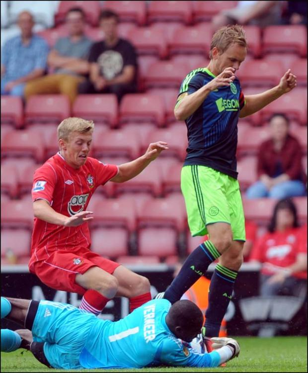 Ward-Prowse closes in on the Ajax keeper.