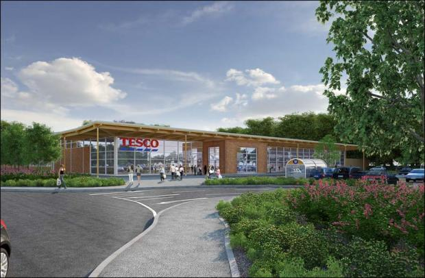 An artist's impression of the proposed Tesco store on the edge of Romsey