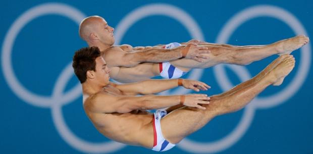 Tom Daley and Pete Waterfield in action at the Olympics