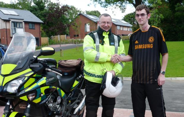 BASICS Hampshire medic Bruce Armstrong with grateful accident victim Jordon Griffin