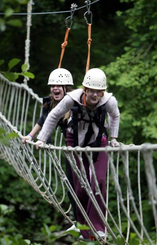 Girls who were not involved in the emergency on the rope bridge