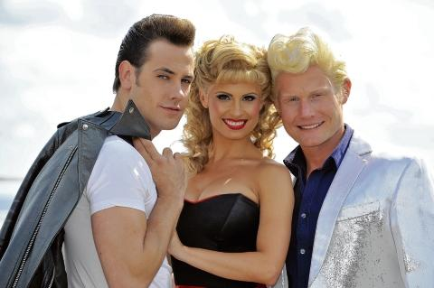 Grease stars – Danny Bayne, Carina Gillespie and Rhydian Roberts