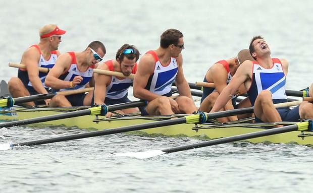Hampshire rower James Foad (second from left) has won bronze as part of the men's eight Great Britain team