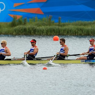 Andrew Triggs Hodge, Tom James, Pete Reed and Alex Gregory eased into the men's four final