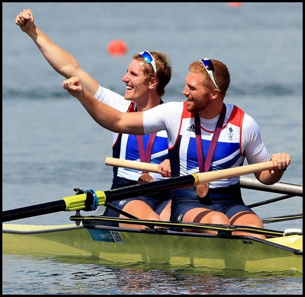 Great Britain's George Nash (left) and William Satch celebrate their bronze medal in the final of the men's pair