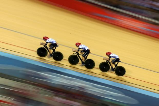 Dani King, Laura Trott and Joanna Rowsell in their team pursuit win over Canada. Andrew Milligan/PA Wire