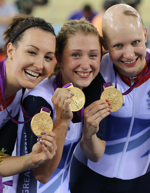 Joanna Rowsell with team mates Dani King and Laura Trott [picture: Andrew Milligan/PA Wire]
