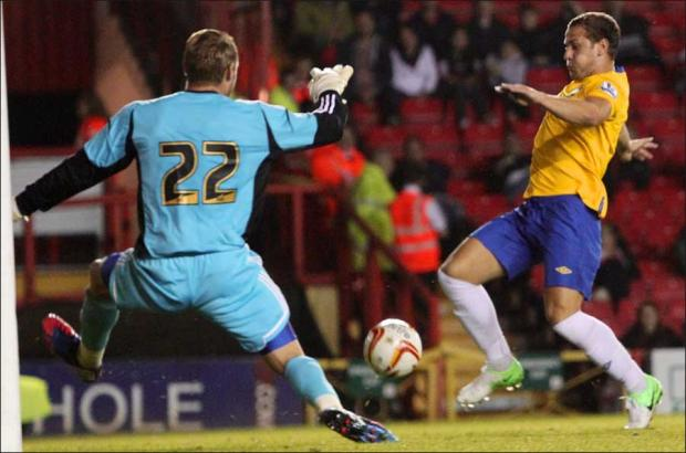 Billy Sharp equalises for Saints last night.
