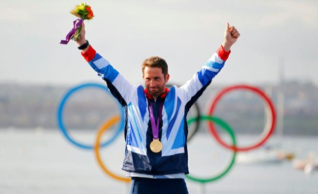 Ben Ainslie celebrates Olympic gold