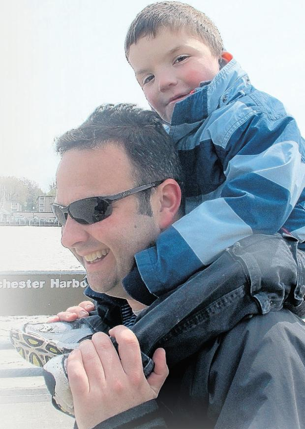 Daily Echo: Anthony Smith, 4, with his Dad, Kevin Smith.