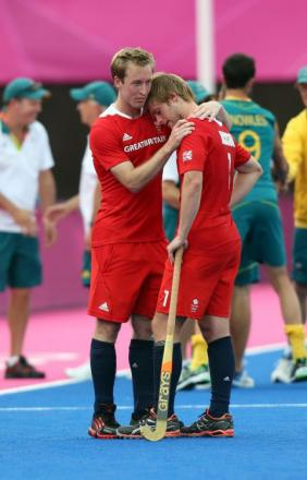 Great Britain's Ashley Jackson (right) with Glenn Kirkham after losing against Australia during the Men's Bronze Medal match
