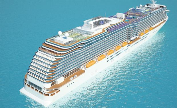 Artist's impression of how the 141,000-ton Royal Princess will look at sea.