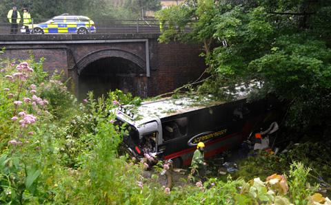 Daily Echo: The coach crash at Limpley Stoke. Picture by Glenn Phillips
