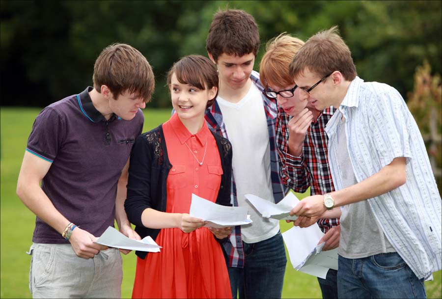 Brockenhurst College students collect their results this morning