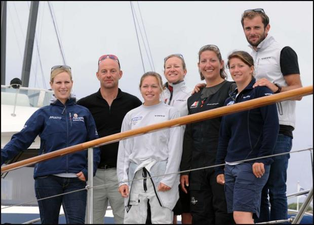 Zara Phillips joined the sailors at Cowes yesterday.