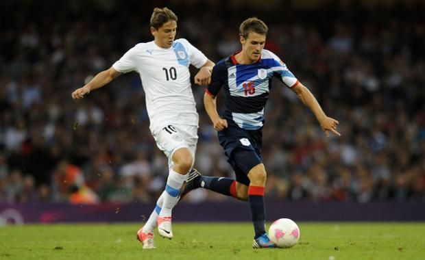 Gaston Ramirez in action for Uruguay at the London Olympics against Team GB.