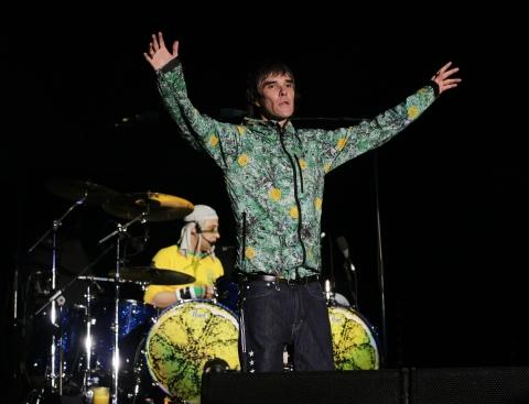 Stone Roses lead singer Ian Brown on stage