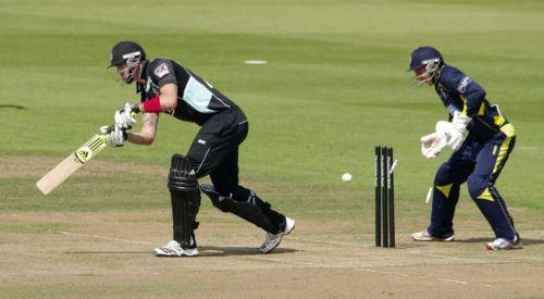 Kevin Pietersen is bowled by Dawson (Pics: Neil Marshall)