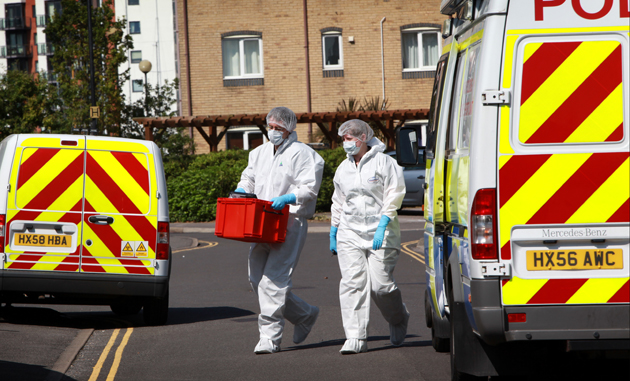 Forensic officers in Atlantic Close