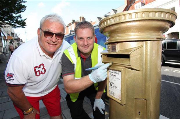 Lymington finally gets its official golden Olympic post box