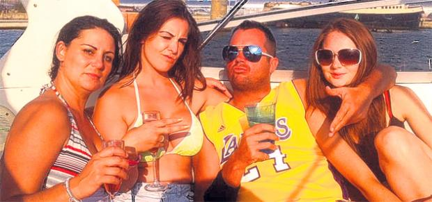 Paul Sperring, centre, pictured with friends on a boat in Southampton. Picture from Facebook.