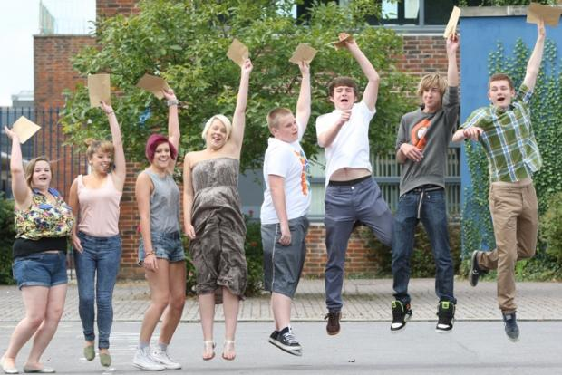 Chamberlayne pupils celebrate their results.