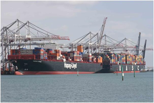 Two 'mega-ships' handled together at DP World Southampton: Hamburg Express and Jebel Ali