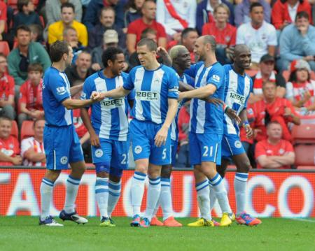Picture from the Barclay's Premier League clash between Saints and Wigan at St Mary's Stadium. The unauthorised downloading, editing, copying, or distribution of this image is strictly prohibited.
