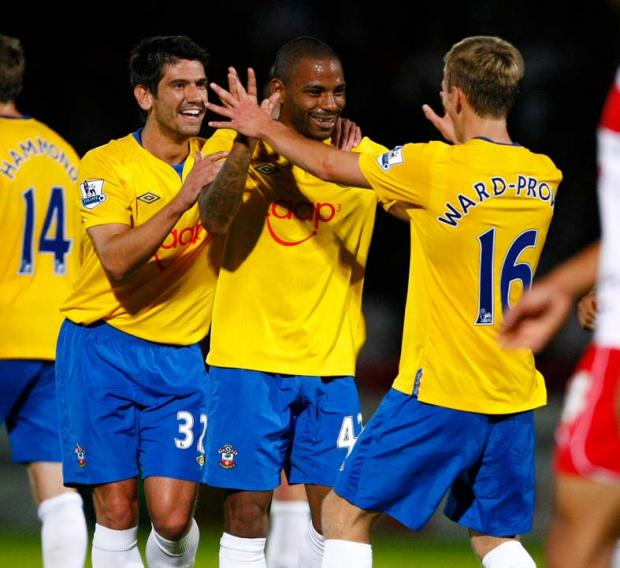 Jason Puncheon is congratulated after his superb strike against Stevenage