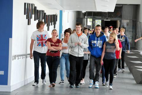 Daily Echo: Pupils arrive to collect their exam results at Everest