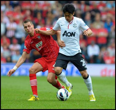 Picture from the Barclay's Premiership clash between Saints and Manchester United at St Mary's Stadium. The unauthorised downloading, editing, copying or distribution of this image is strictly prohibited.