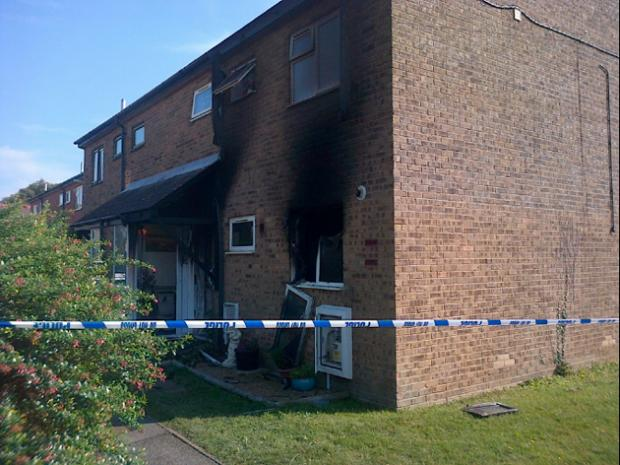 The scene of the fire in Marks Road, Stubbington